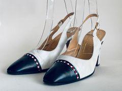 """Simpson Piccadilly Vintage White & Blue Leather Sling Back Shoe 3.5"""" Heel UK 4.5 Size UK 4.5AA, US 6.5, EU 37.5"""
