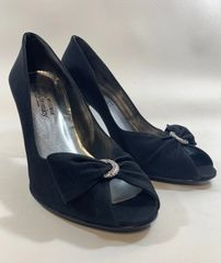 Stuart Weitzman For Russell & Bromley Black Satin Peep Toe Stiletto Court Shoe Size UK 5.5 EU 38.5 US 7.5