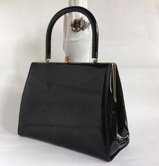 St Michael Black Faux Patent 1960s Boxy Go Go Mod Vintage Handbag With Black Fabric Lining