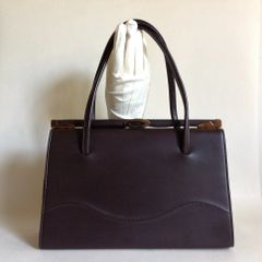 Brown Smooth Vinyl 1950s Vintage Handbag Kellly Bag With Brown Satin Lining