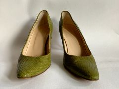 HOBBS Olive Green Leather Almond Toe 3.25 Inch Stiletto Heel Court Shoe Size UK 6.5 EU 39.5