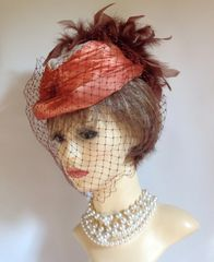 Vintage 1940s Satin Burnt Orange, Ivory And Brown Capulet Hat With Face Net And Rear Plumage