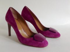 Hobbs Purple Magenta Suede Leather Slim High Heel Court Shoes & Box UK 4 EU 37