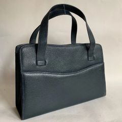Gresham Vintage 1950s Blue Textured Faux Leather Handbag With Grey Moir Fabric Lining
