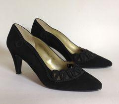 """Roland Cartier Black Leather 1980s Vintage 3"""" Heel Court Shoes Size UK 4 EU 37"""