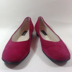 Hobbs Dark Cerise Suede Leather Square Toe Ballet Flat Court Shoe Size UK 7.5 EU 40.5