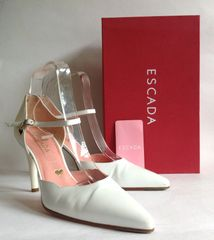 Escada White All Leather Mary Jane Almond Toe Shoes UK 6 EU 39 Box & Care Label