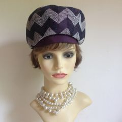 French Style Blue & White Zig Zag Vintage 1960s Segmented Beret Hat Fully Lined
