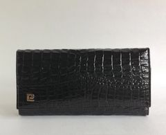Pierre Cardin Vintage 1970s Crocodile Skin Black Leather Clutch Bag Purse With Chain Strap