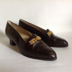 "Bally Sian Vintage 1980s Blue Leather Almond Toe 2"" Heel Slingback Shoe UK 5.5 EU 38.5"