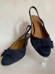 "Hobbs Navy Blue Mat Satin Elasticated Slingback Shoes 3"" Kitten Heel"