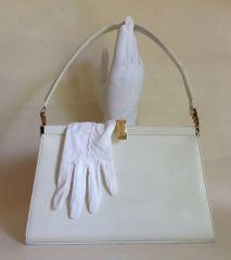 Vintage 1960s Jane Shilton White Leather Handbag Fabric Lining & Stretch Gloves