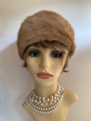 """Vintage 1950s Light Brown Camel Cossack Style Real Fur Fully Lined 20"""" Hat"""