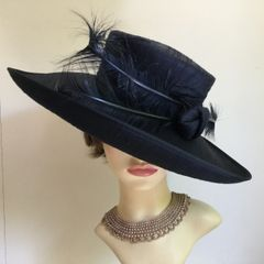 Headways By Albert 100% Silk Dark Blue Dress Hat Wedding Church Races