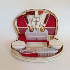 Vintage 1960s 11 Piece Vanity Manicure Travel Set In A Cream Faux Leather Case and Cardboard Box.