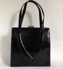 Waldybag Black Leather Large 1960s Vintage Handbag Satin LIning Gold Tone Clasp