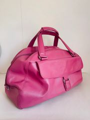 Marks And Spencer Bubble Gum Pink Leather Travel Hold-all Case Luggage Weekend Bag