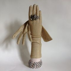 1950s Vintage Gold Lurex 13 Inch Opera Gloves Size to fit 6.5 to 7