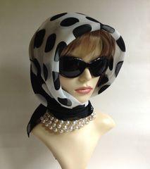 Vintage 1960s Style Scarf Black & White Spotted Polka Dot Polyester Stitched Hem