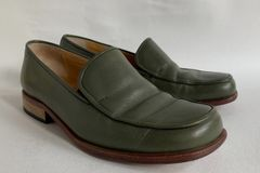 Amberland Olive All Leather Flat 1 inch Heel Loafer Shoe UK 3 EU 36