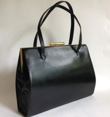 Black Leather 1960s Large Vintage Handbag With Buff Suede Lined Gold Toned Fittings