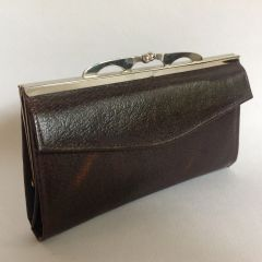 Leather 1960s Brown Vintage Coin Purse Wallet With Gold Toned Frame and Squared Raised kiss clasp Size 7 x 4 inches.