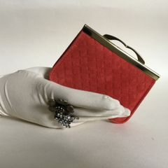 Vintage Rusty Red Diamond Patterned Suede Leather Coin Purse With Kiss Clasp