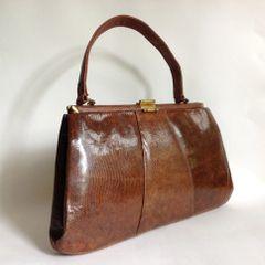 Large Brown Lizard Skin Suede Lined 1950s Vintage Handbag Kelly Bag Mad Men