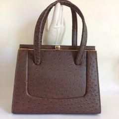 Brown Faux Ostrich Embossed Leather 1950s Vintage Handbag With Brown Satin Lining And Elbief Frame