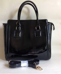 Black Large Synthetic Patent Tote Bag Handbag Shoulder Bag With Detachable Strap