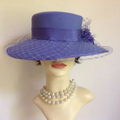 Eastex Ladies Wedding Church Races Formal Hat Lilac Polyester With Flower Net Details