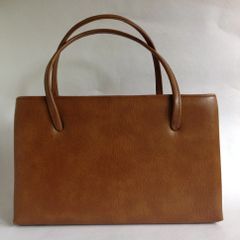 Faux Leather Spacious Tan 1950s Vintage Handbag Tan Fabric Lining & Elbief Frame