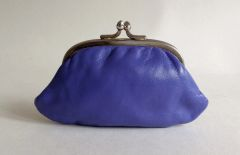 Vintage 1950s Lilac Leather Coin Purse With Gold Toned Frame & Pale Lilac Satin Lining