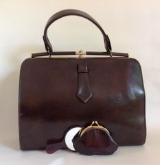 Garfield 1960s Vintage Handbag Brown Faux Leather Suede Lining Purse & Mirror
