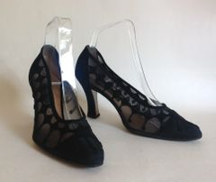 Immagini Black Corde Velvet & Mesh 1940s Inspired Court Shoe UK 4.5 EU 37,5