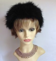 Ginette Delance Vintage 1960s Black Ostrich Down Feather Hat Fully Lined 21 Inch Hat