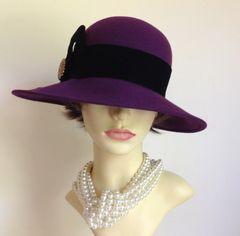 James Egleton Felt Wide Brim Purple Hat With Black Velvet Ribbon And Brooch Trilby Fedora