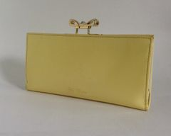 Ted Baker Well Loved Yellow Large Patent Leather Purse Wallet Leather And Fabric Lining