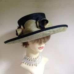 Simon Ellis Large Formal Abaca Sisal Black Yellowish Cream Hat With Rosettes And Swirling Ruffles.