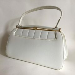 White Faux Leather Rockabilly 1960s Vintage Handbag With Royal Blue Fabric Lining