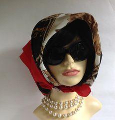 Prova Vintage 1960s Scarf Equestrian Red White Black Gold Polyester Stitched Hem