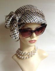 Neck Scarf Head Wrap Polyester Beige Blue Black Check Pattern Overlocked Edge