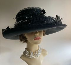 Genevieve Louis by Nigel Rayment Large Ladies Black Sinamay Wedding Dress Hat With Rose Bud Embellishments