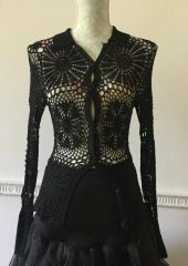 Karen Millen Black Crochet Viscose Net Lace Long Sleeve Cardigan UK Size 8 Marked Size (1)