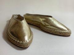 Zara Trafaluc Gold Fabric Flat Backless Espadrilles Size UK 6 EU 39.