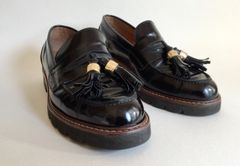 Russell And Bromley Designed By Stuart Weitzman Well Loved Black Hi Shine Leather Loafers Size UK 3. EU 36.
