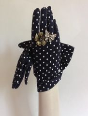 Vintage Black White Spotted Cotton Stretch Gloves Mod Gogo Rockabilly Size 7