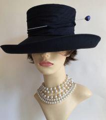Bermona Model 100% Silk Dark Blue Dress Hat & Blue Hat Pin Wedding Church Racesq