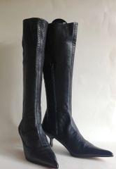 Giuseppe Zanotti Black Soft Leather Sexy Pointed Kitten Heel Knee High Boots UK 6