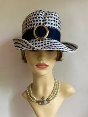 Vintage 1960s Blue And White Polyester Straw Hat With Petersham Ribbon & Gold Front Buckle.